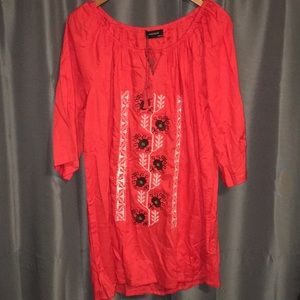 Backwoods red embroidered shift dress NWT large